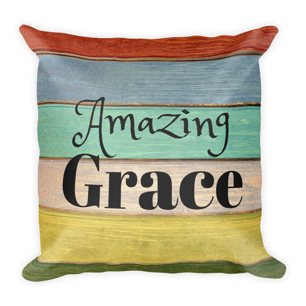 """Amazing Grace"" Square Pillow w/ Insert"