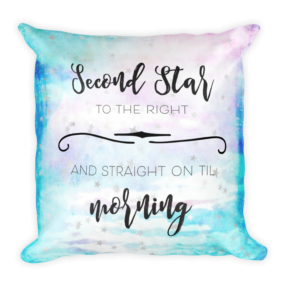 """Second Star to the Right"" Square Pillow Cover (cover only, no insert included)"