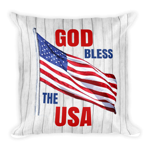 """God Bless the USA"" Square Pillow Cover (cover only, no insert included)"