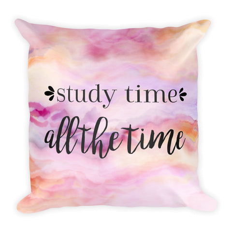 """Study Time"" Square Pillow Cover (cover only, no insert included)"