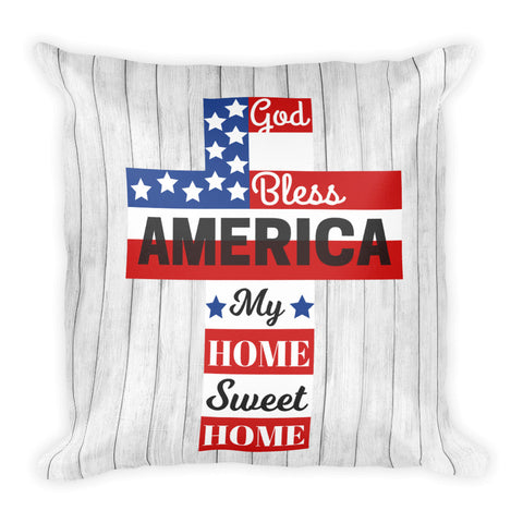 """God Bless America"" Square Pillow Cover (cover only, no insert included)"