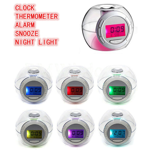"""Poke' Clock"" : 7 Color Changing Alarm Clock with Temperature and Natural Sound"