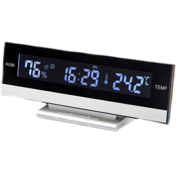 Modern Electronic LED Digital Long Bar Alarm Clock with Temperature & Humidity
