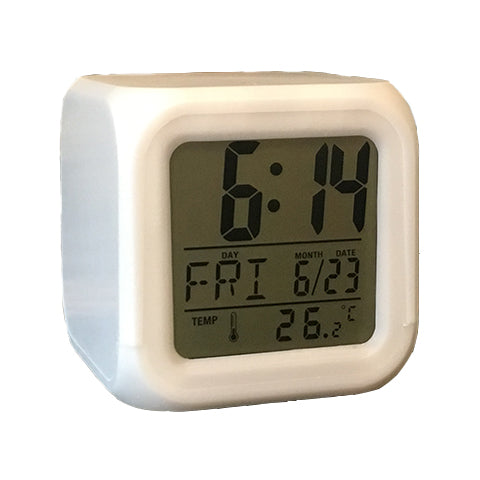 Color Changing LED Desk Clock with Thermometer