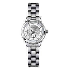 Classic Antique Silver Stainless Steel Luxury Women's Quartz Wristwatch