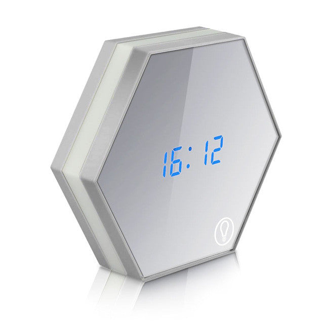 Modern Multi-Function Clear Mirror Digital LED Alarm Clock
