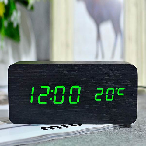 The ONIX : Bamboo + Wooden LED Alarm Clock with Temp Readout
