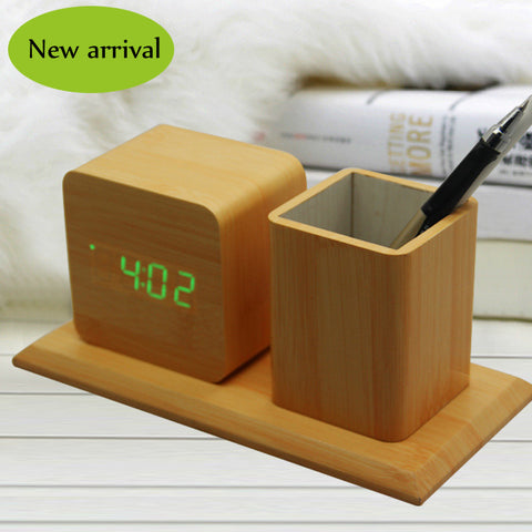 Combo Wooden Clock with pen holder