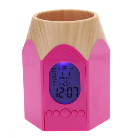 Pen Holder Digital LED Alarm Clock With Calendar & Temperature Meter