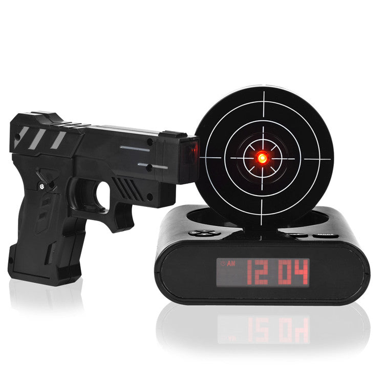 Cool Unique LCD Laser Gun Digital Alarm Clock With Bullseye Target