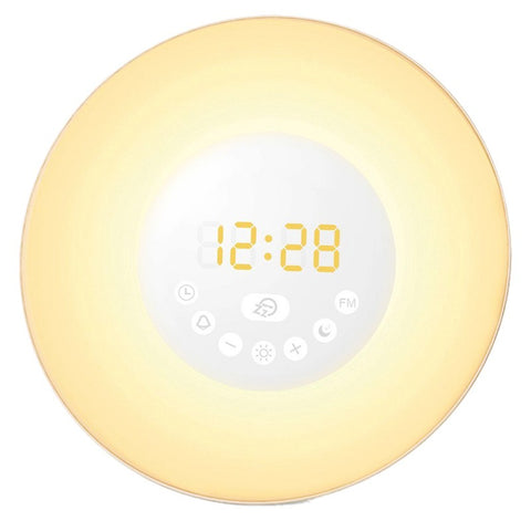 Sunrise Simulation Gentle Wake Up Soft LED Light Digital FM Radio Alarm Clock