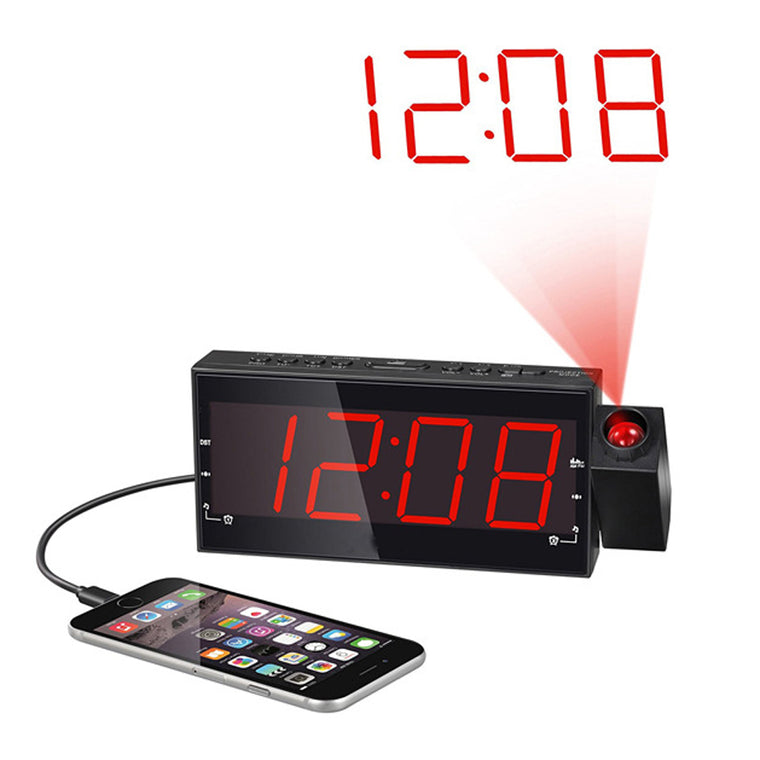 Dimmable Projection Bedside Digital Alarm Clock Block with USB