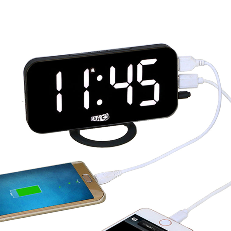 Electronic Digital LED Alarm Clock on Small Stand with USB Charging Port