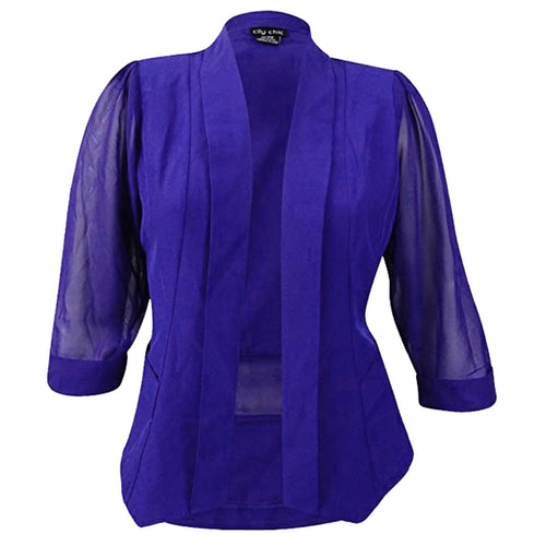 City Chic Blue or Purple Long Sheer Sleeve Open Drape Front Blazer Jacket Plus Size