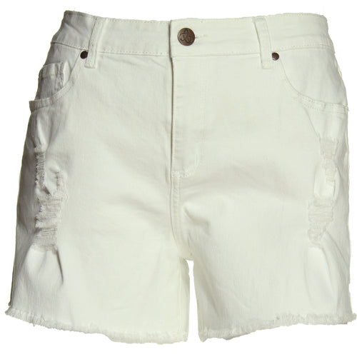 City Chic White Denim Distressed Jean Shorts