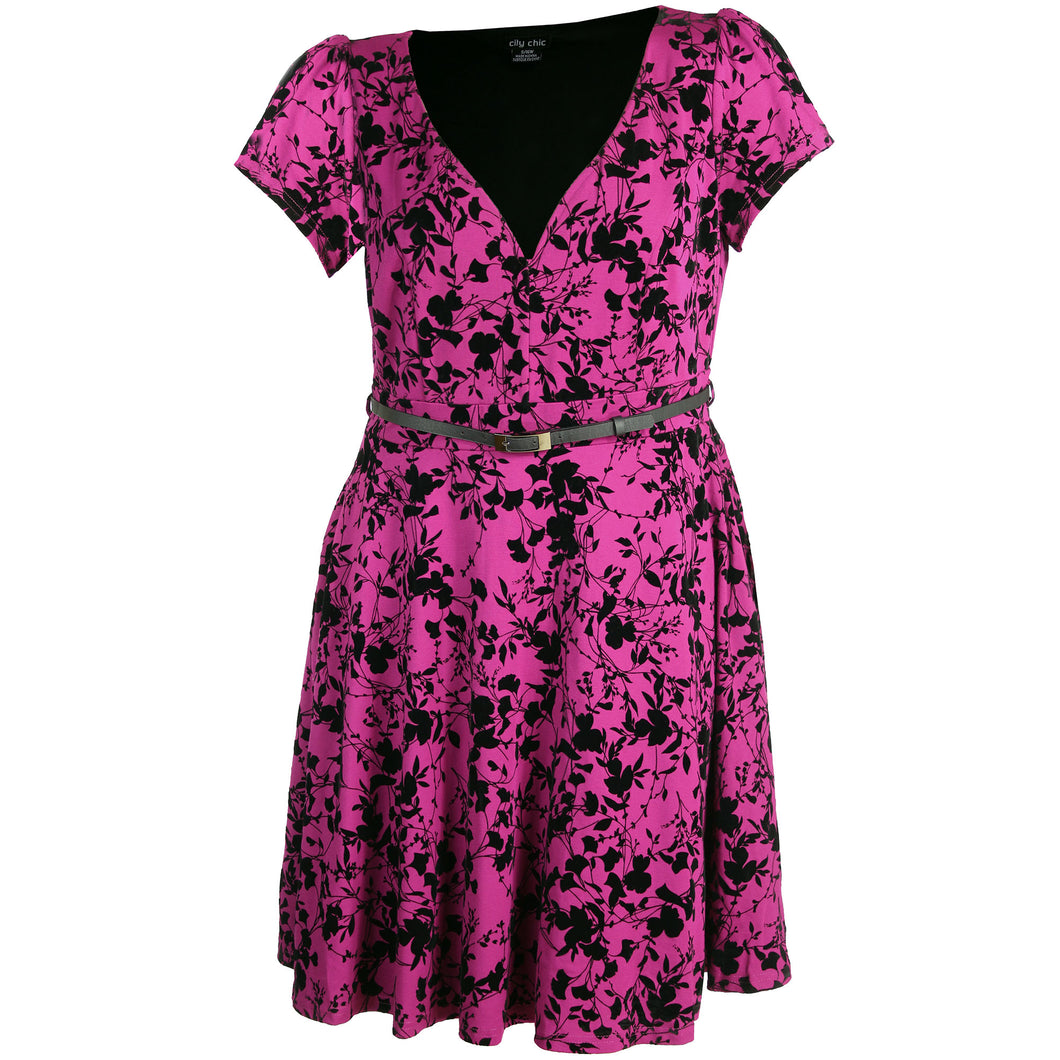 City Chic Floral Print Short Sleeve Belted Fit & Flare Dress Plus Size