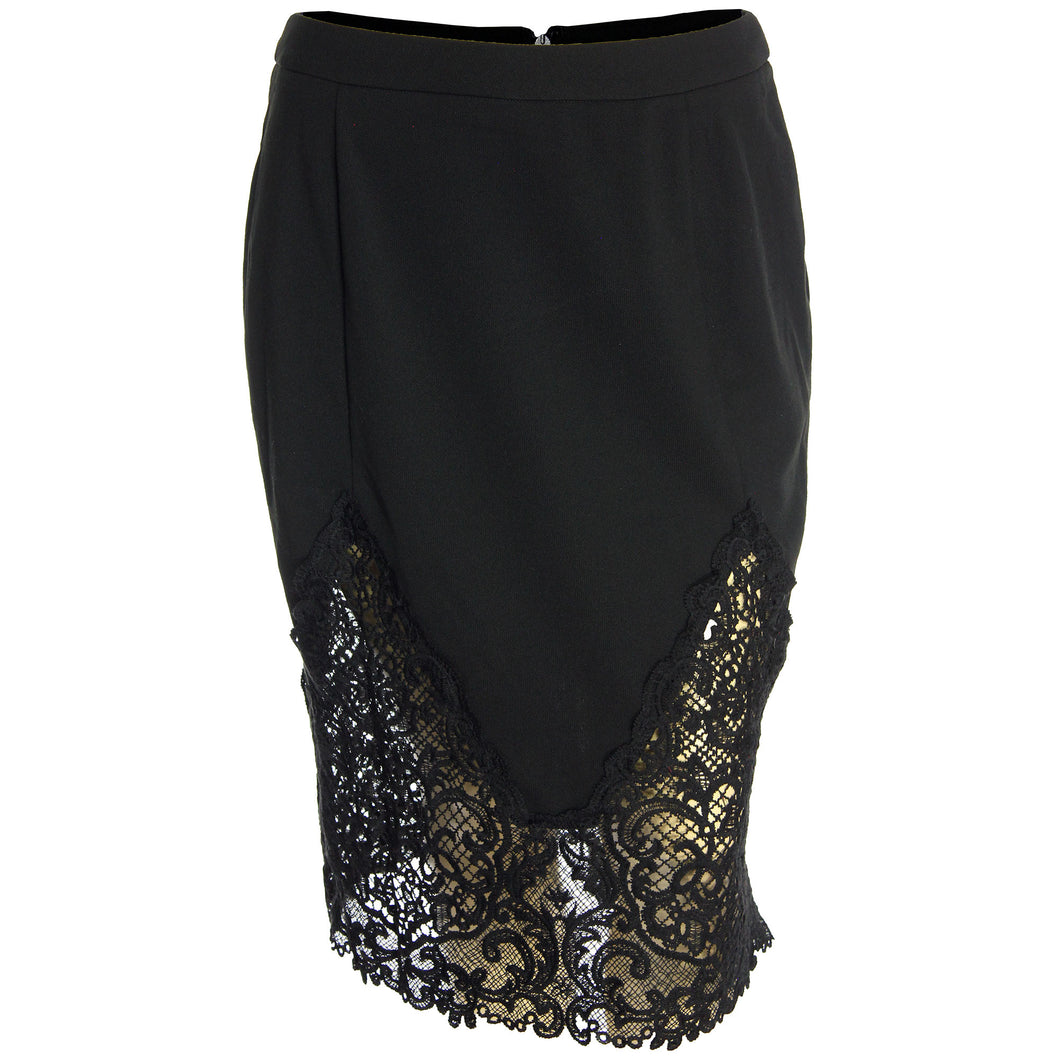 City Chic Black Lace Inset Straight Pencil Skirt