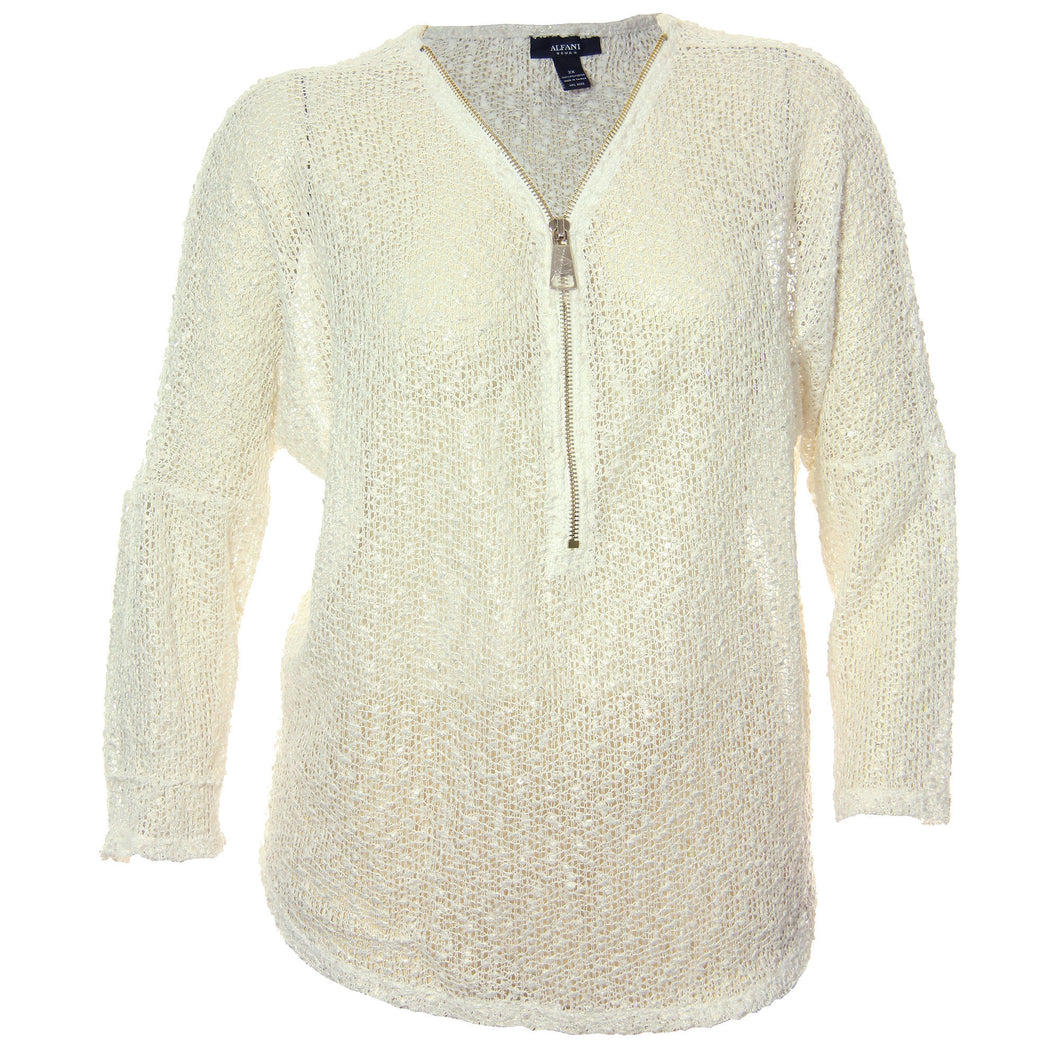 Alfani White Long Sleeve Partial Zip Front Open Weave Shirt