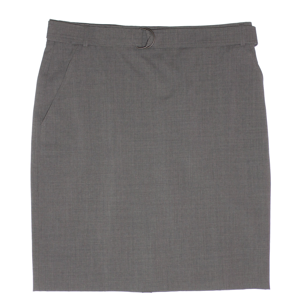Arkis Grey Belted Slash Pocket Wool Blend Pencil Straight Skirt