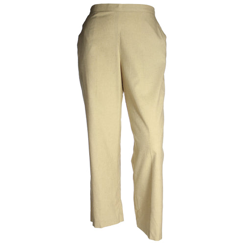 Karen Scott Pull on Flat Front Straight Leg Linen Blend Pants