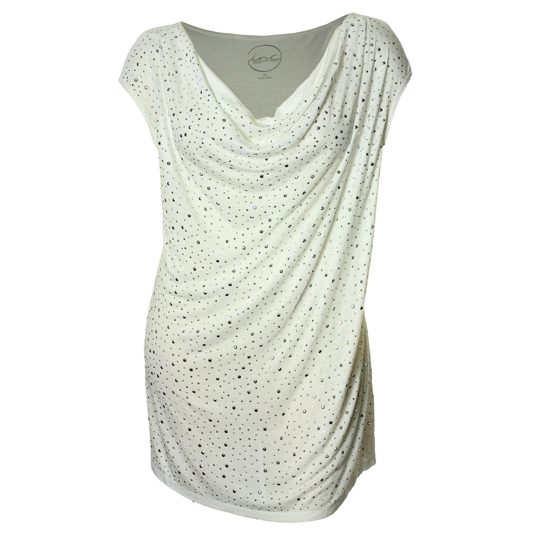INC White Sleeveless Drape Neck Studded Shirt