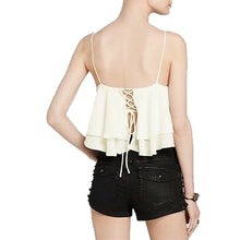 Free People Ivory Sleeveless Tiered Ruffle Crop Top