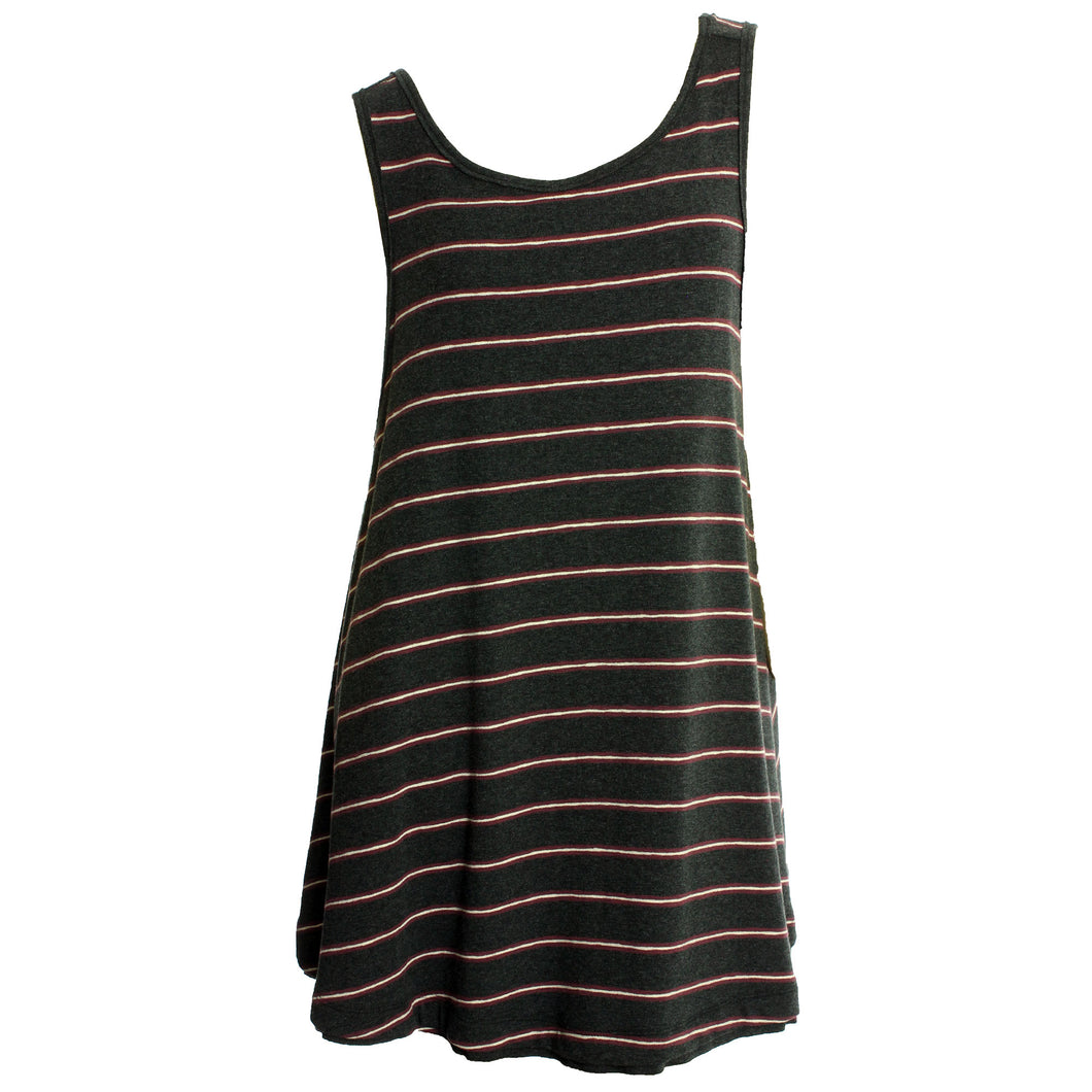 Free People Striped Sleeveless Tunic Length Tank Top