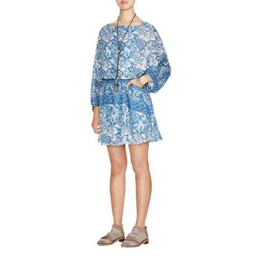 Free People Blue Floral Print Long Sleeve Open Back Dress