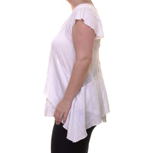 Free People White Cap Sleeve Layered Sharkbite Hem Blouse