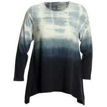 Style & Co Tie-Dye Ombre Long Sleeve Shark Bite Hem Shirt