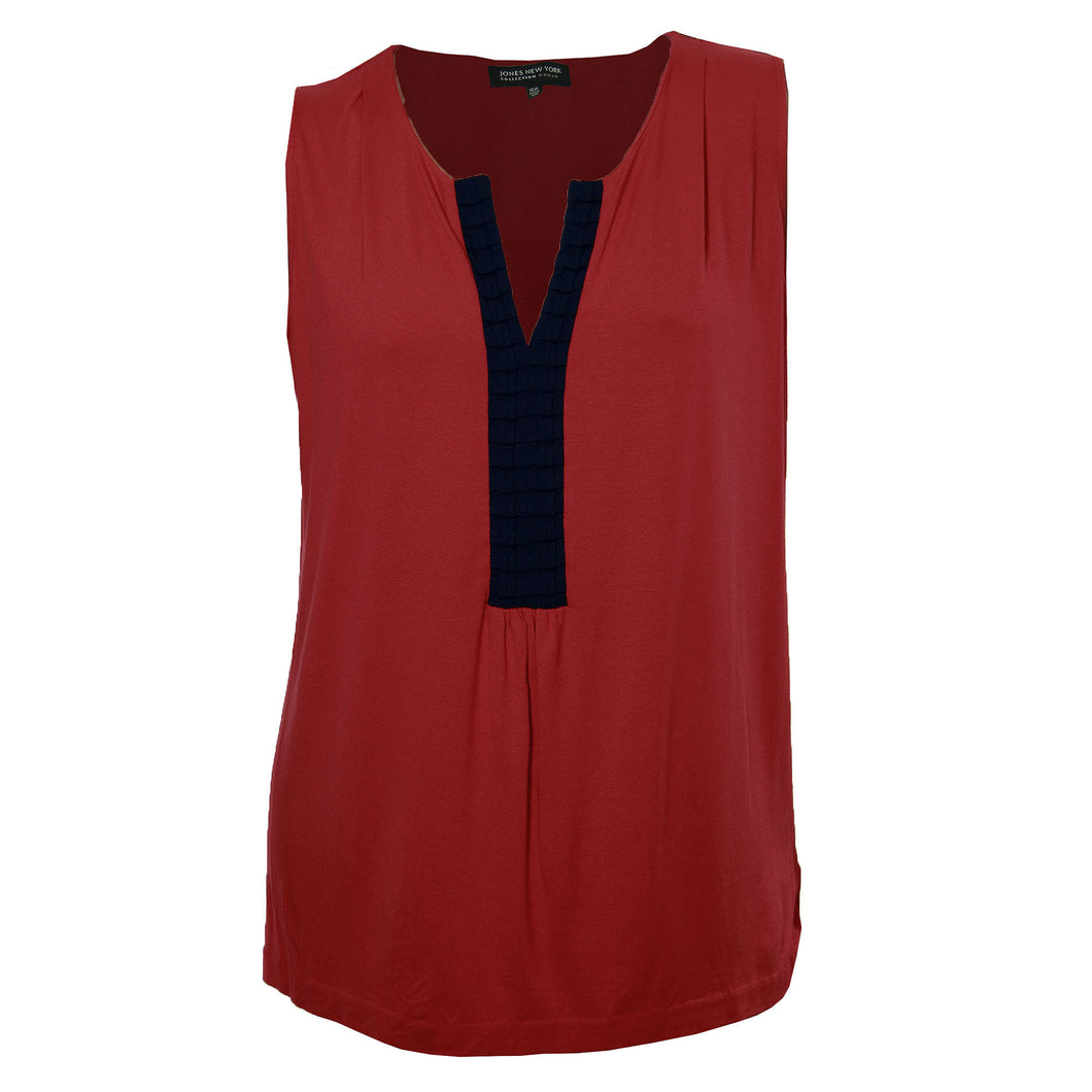 Jones New York Red & Blue Sleeveless Split Neck Shell Tank Knit Top
