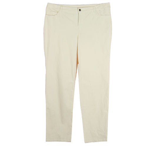 Jones New York White Tummy Slimming Straight Leg Corduroy Pants