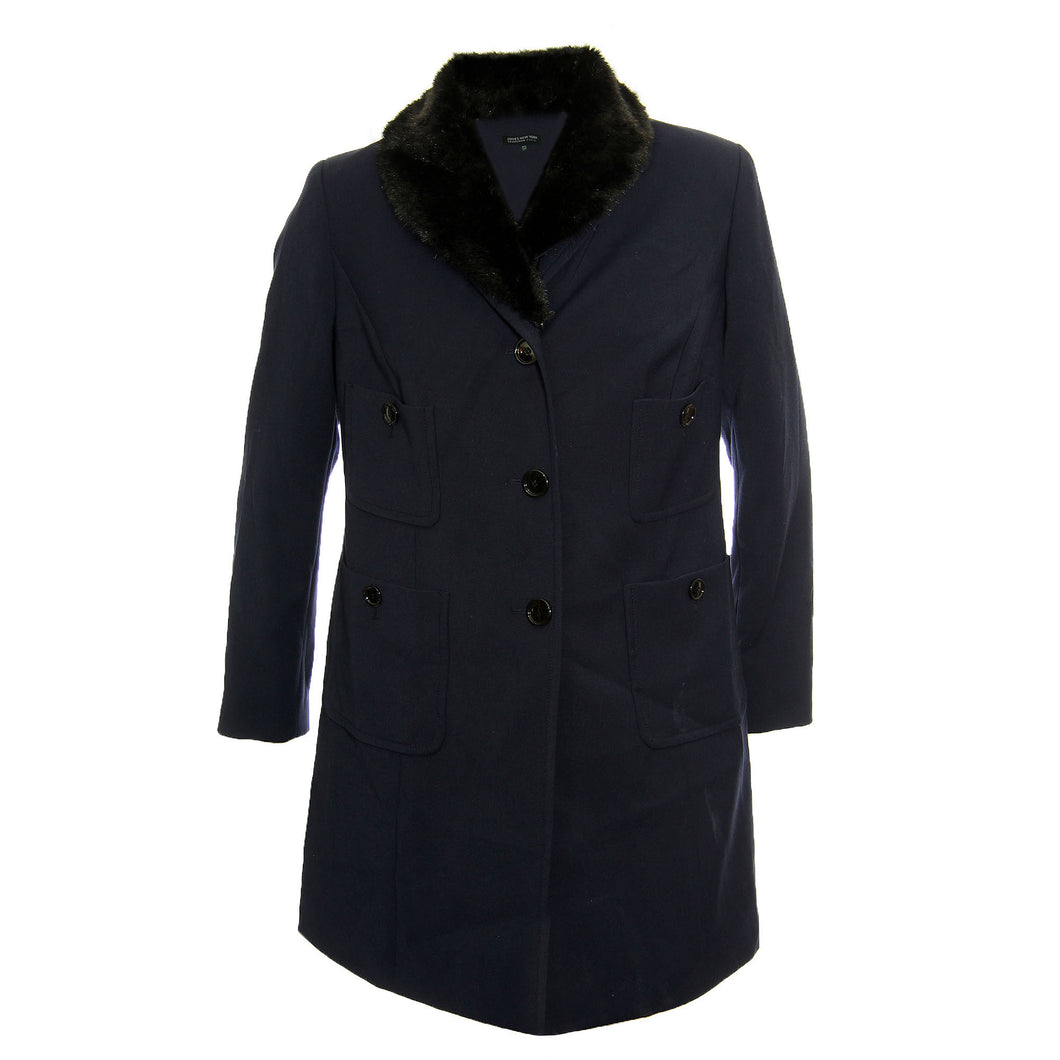 Jones New York Blue Long Sleeve Faux Fur Collar Jacket Coat