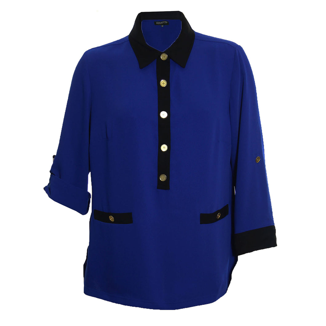Jones New York Blue & Black 3/4 Sleeve Button Front Blouse Top