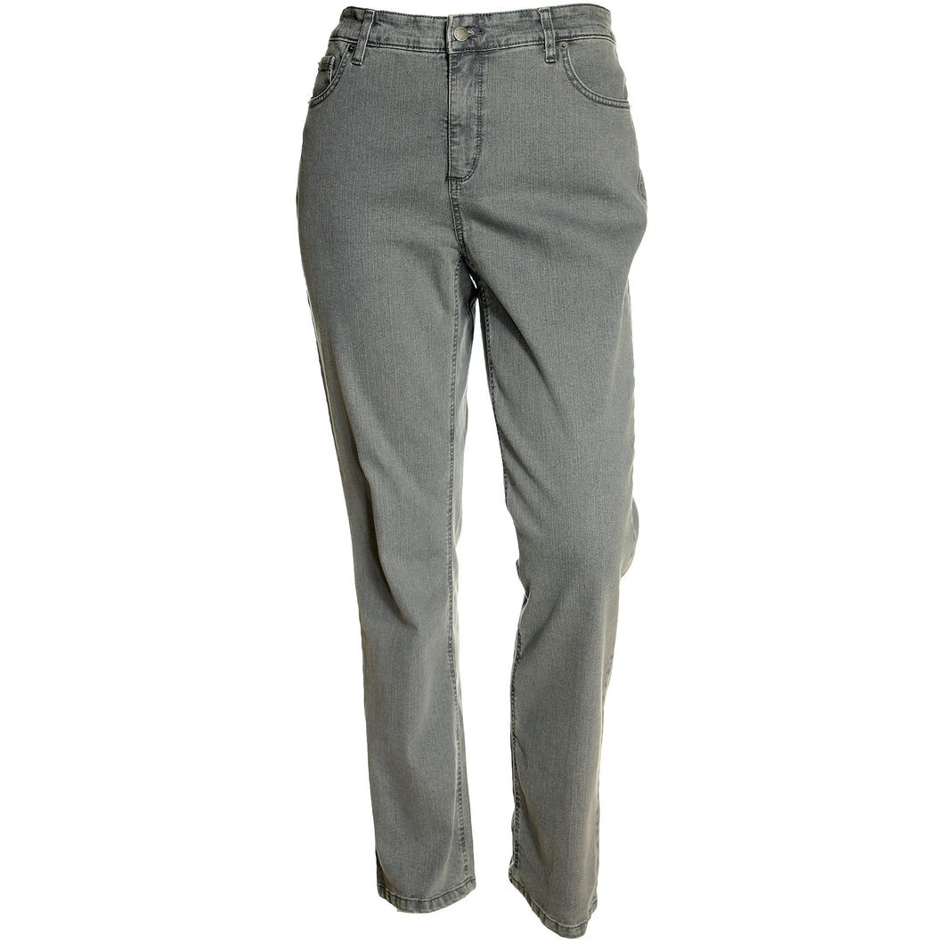 Jones New York Gray Mid-Rise Slimming Straight Leg Denim Jeans