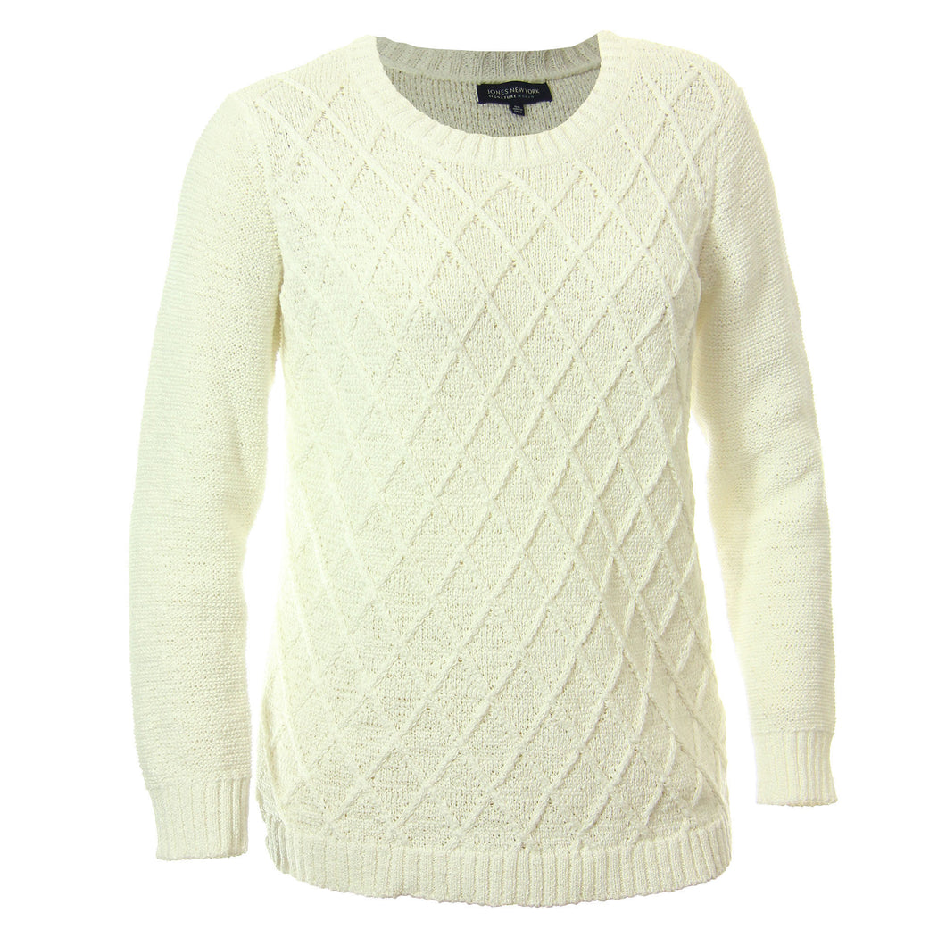 Jones New York Ivory Long Sleeve Diamond Cut Pullover Sweater