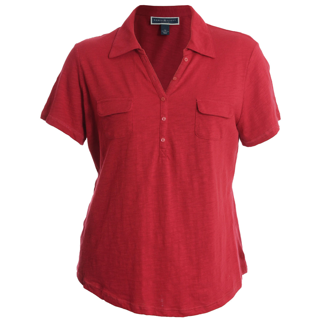 Karen Scott Red Short Sleeve Slub Henley Shirt