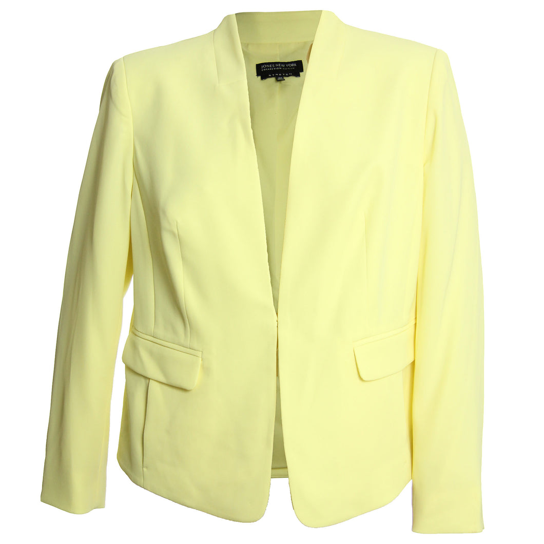 Jones New York Pale Yellow Long Sleeve Collarless Blazer Jacket Coat