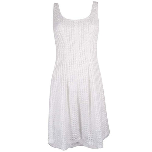 Nine West White Sleeveless Fit & Flare Dress