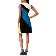 Bar III Multi Color Sleeveless Colorblock Mock-Neck Dress