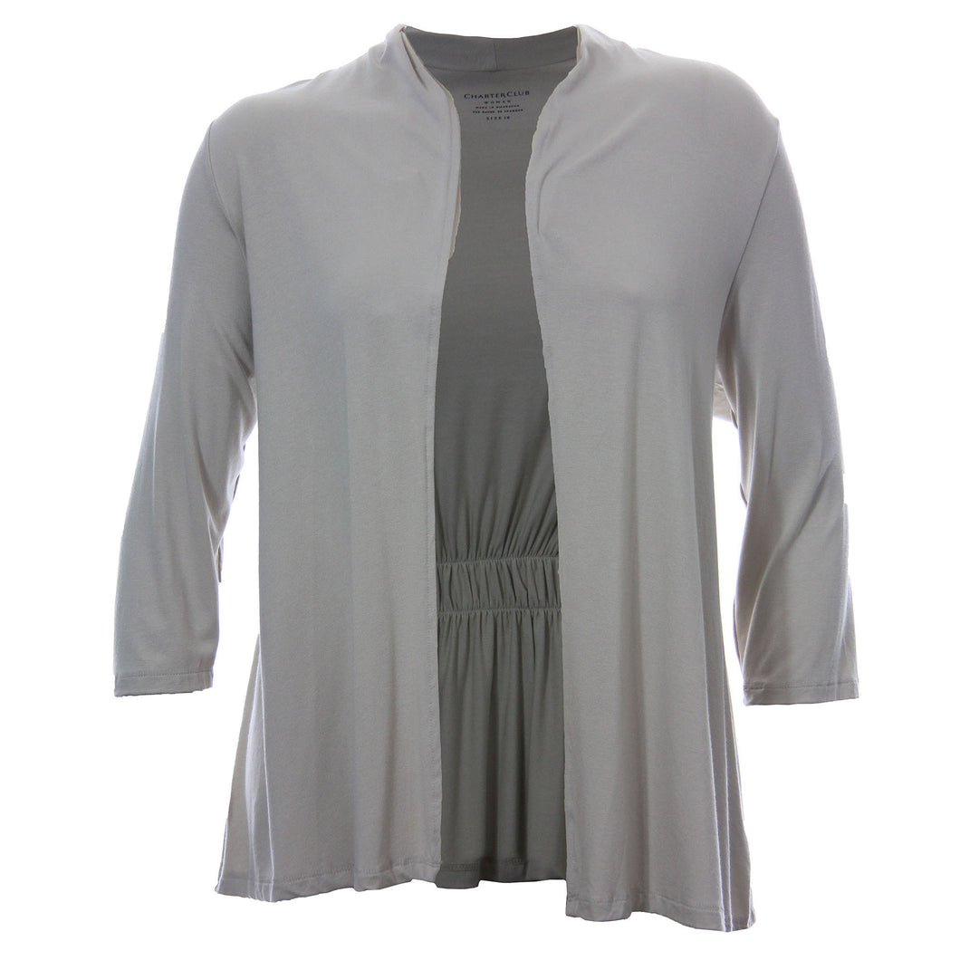 Charter Club Beige 3/4 Sleeve Shrug Cardigan