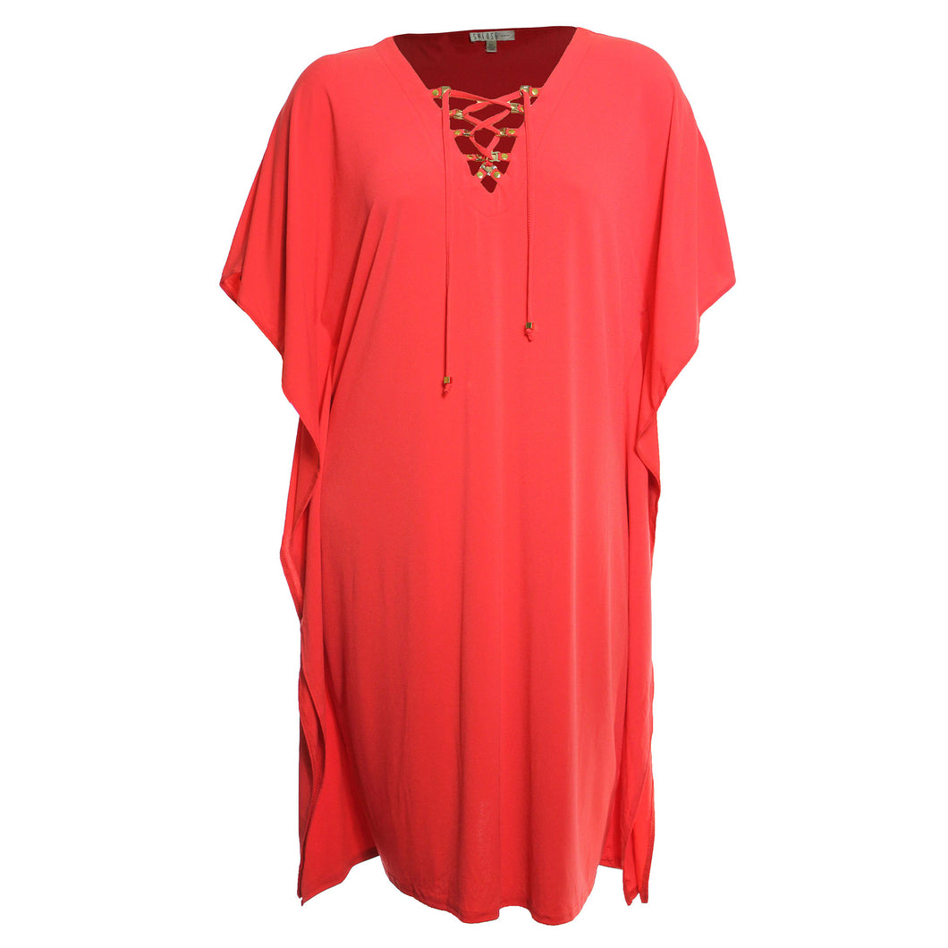 Spense Orange Butterfly Sleeve Lace Up Caftan Style Dress