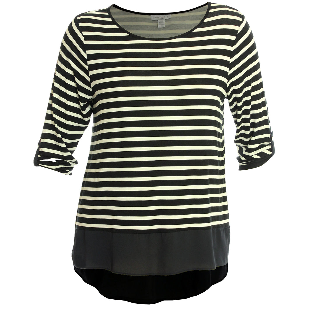 Charter Club Striped 3/4 Sleeve High-Low Chiffon Hem Shirt