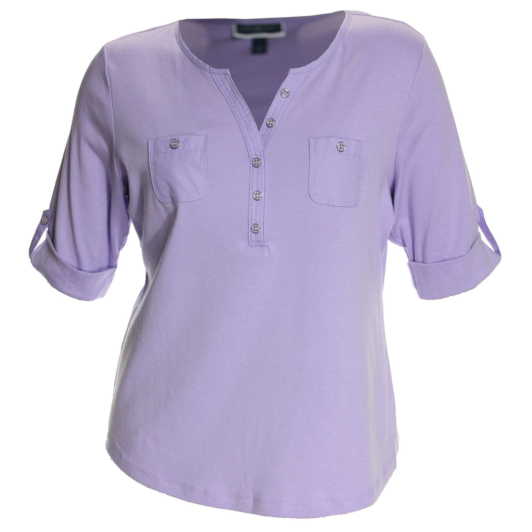 Karen Scott Purple Roll-Tab Sleeve Henley Shirt