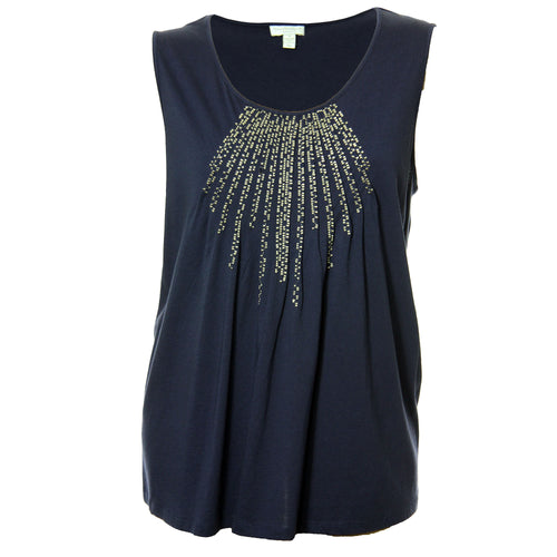 Charter Club Blue Sleeveless Pintuck Embroidered Knit Top Plus Size