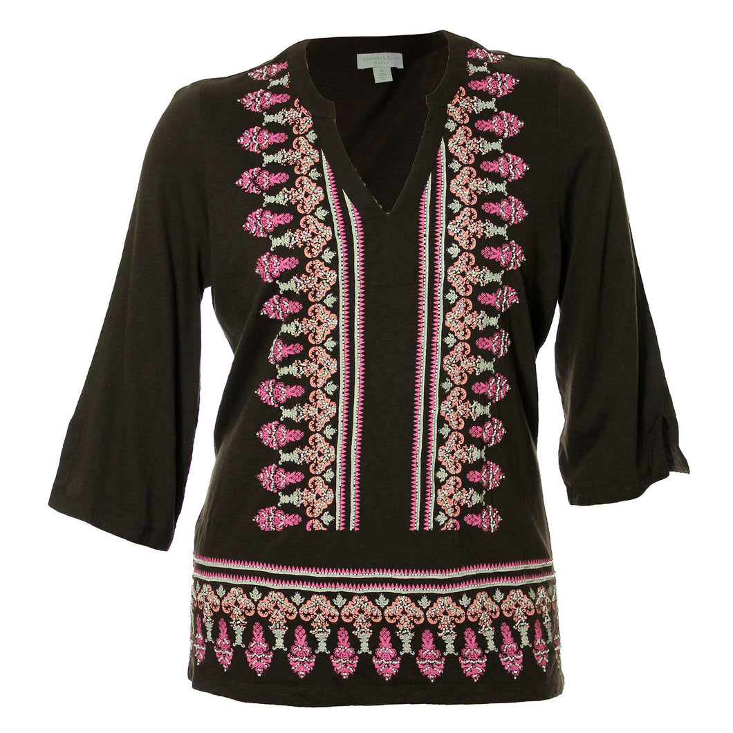 Charter Club Multi Color Print 3/4 Sleeve Bead Embellished Tunic Shirt