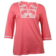 Charter Club Pink 3/4 Sleeve Embroidered & Beaded Knit Top Plus Size