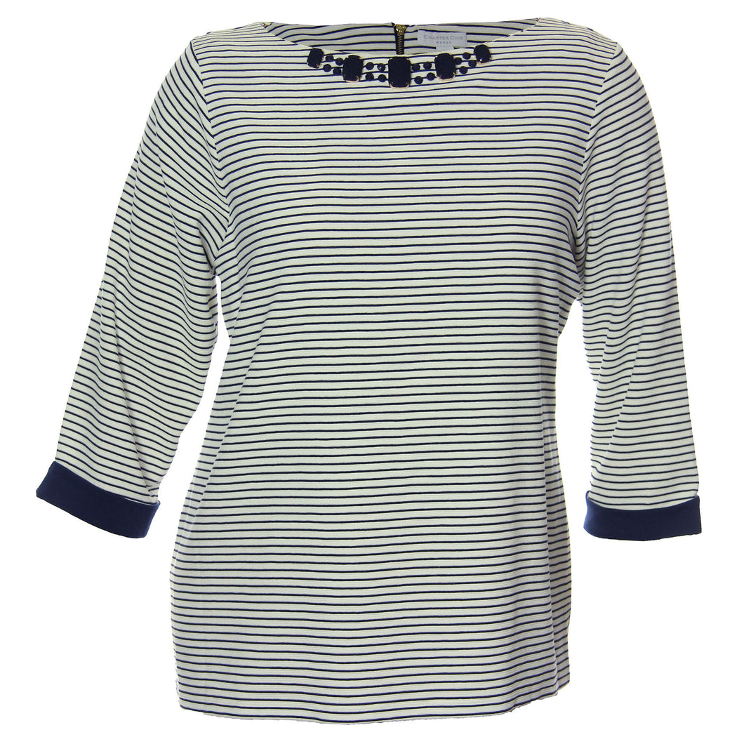 Charter Club Multi Color Striped 3/4 Sleeve Embellished Shirt
