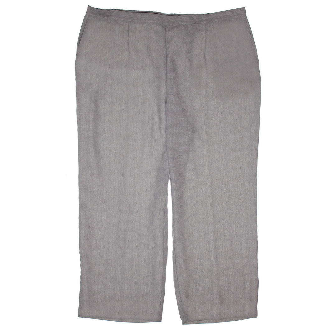 Alfred Dunner Grey Straight Leg Pull On Elastic Waist Pants