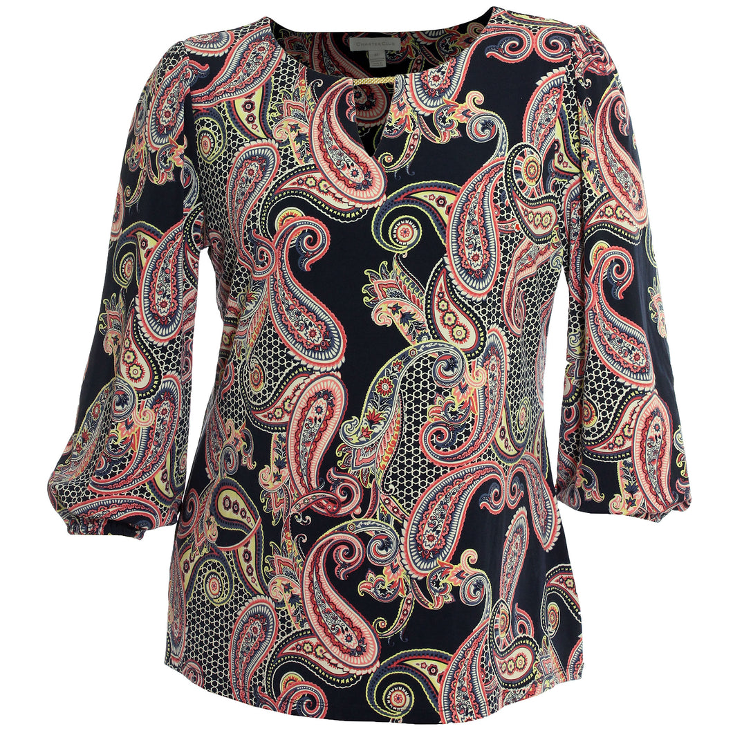 Charter Club Multi Color Paisley Print Long Sleeve Hardware Keyhole Shirt